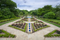 Rose garden on a cloudy day beautifully landscaped urban spring in texas Royalty Free Stock Image