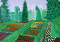 Rose Garden, Portland, Oregon watercolor painting Royalty Free Stock Image