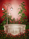 Rose garden with a Victorian lamp Royalty Free Stock Images