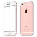 Rose Gold Apple iPhone 6S mockup slightly clockwise rotated Royalty Free Stock Photo