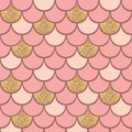 Rose gold fish scale geometrical vector pattern with glitter effect Royalty Free Stock Photo