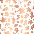 Rose Gold foil autumn leaf silhouettes seamless vector background. Copper shiny abstract fall leaves shapes on white background.