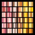 Rose gold gradient collection vector design texture. Golden bronze metal gradient template for web Royalty Free Stock Photo