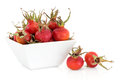 Rose hip fruit over a white background Royalty Free Stock Images