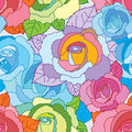 Rose line colorful seamless pattern Royalty Free Stock Photo