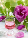 Rose liquor in glass selective focus Royalty Free Stock Image