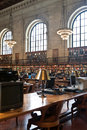 Rose main reading room in new york public library nyc usa may the third largest north america detail of the desks of the Stock Photography