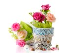 Rose and mosaic flower pot Stock Photo
