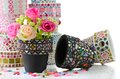 Rose and mosaic flower pot Stock Photos