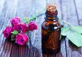 Rose oil in bottle Royalty Free Stock Photo
