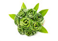 Rose of pandan leaf on white Stock Images