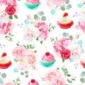 Rose, peony, hydrangea, camellia, tasty cupcakes seamless vector