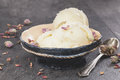 Rose petal ice cream close up made with cardamom vanilla and pistachios Stock Image