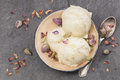 Rose petal ice cream made with cardamom vanilla and pistachios Royalty Free Stock Images