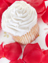 Rose petals around cupcake Stock Photos