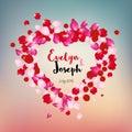 Rose petals heart beautiful wedding invitation vector illustration Royalty Free Stock Image
