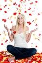 Rose Petals Woman Stock Photography