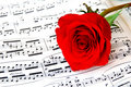 Rose and piano music 2 Stock Photography
