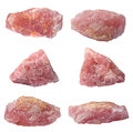 Rose quartz isolated six pieces of mineral over white Royalty Free Stock Photo