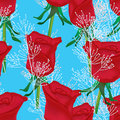 Rose red decoration seamless pattern this illustration is drawing in blue color background Stock Image