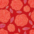 Rose red drawing color bright seamless pattern Royalty Free Stock Photo