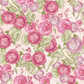 Rose seamless background con gli uccelli Immagine Stock