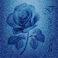 Rose silhouette on the blue jeans background Royalty Free Stock Photo