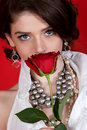 Rose smelling woman Στοκ Εικόνα