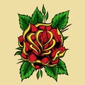 Rose Tattoo old school vector design illustration