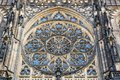 The rose window on the facade of St. Vitus Cathedral in Prague Royalty Free Stock Photo