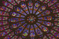 Rose Window Mary Jesus Stained Glass Notre Dame Paris France Royalty Free Stock Photo