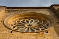 Rose window of villalcazar de sirga church closeup the romanesque to gothic transition in province palencia spain Stock Photography