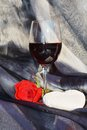 Rose, wine and heart Royalty Free Stock Photo