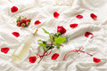 Rose wine petals and strawberry on bed Stock Photography