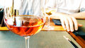 Rose wine at the restaurant Royalty Free Stock Photo