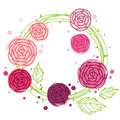 Rose wreath abstract pink with leaves bitmap picture with eps vector file Royalty Free Stock Photo