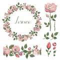 Rose wreath. Floral garland. Forever.Lettering. Endless horizontal floral brush. Set of floral elements. Vector