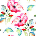 Rosehip flower seamless pattern watercolor painting Stock Photos