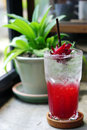 Roselle Iced Tea Mocktail with lemon or Hibiscus sabdariffa Tea is a herbal tea. Royalty Free Stock Photo
