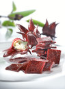 Roselle pickle on white plate Stock Photography