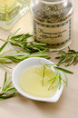 Rosemary essential oil rosmarinus officinalis aromatherapy treatment selective focus Royalty Free Stock Photography