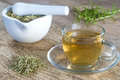 Rosemary tea with drug and mortar Royalty Free Stock Photos