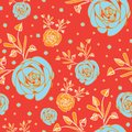 Roses Abstract-Flowers in Bloom seamless repeat pattern Background in orange and blue