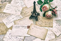 Roses antique french postcards and eiffel tower paris carte postale souvenir from Stock Images