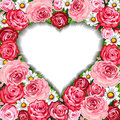 Roses background and heart frame Stock Photo