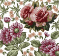 Roses Asters Pattern. Realisti...