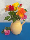 Roses in beige colored jug arranged cream on a blue table cloth with whitewashed wall Royalty Free Stock Photo