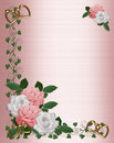 Roses Border pink white wedding Royalty Free Stock Photography