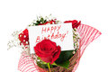 Roses bouquet and card Happy Birthday Royalty Free Stock Photo