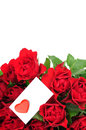 Roses bouquet and Valentine card Stock Photos